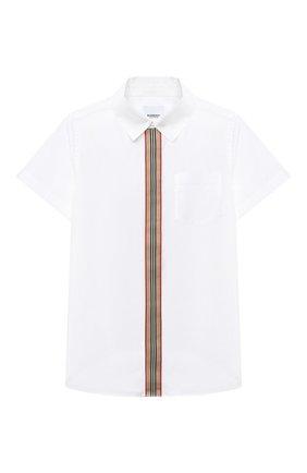 Детская хлопковая рубашка BURBERRY белого цвета, арт. 8030467 | Фото 1