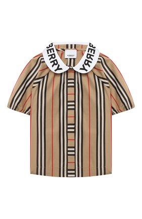 Детское хлопковая блузка BURBERRY бежевого цвета, арт. 8030579 | Фото 1