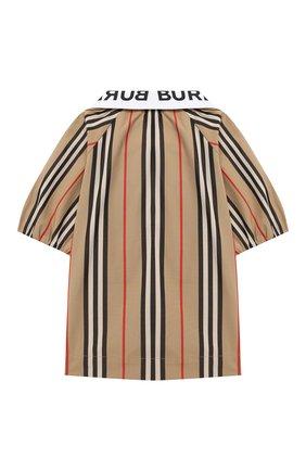 Детское хлопковая блузка BURBERRY бежевого цвета, арт. 8030579 | Фото 2