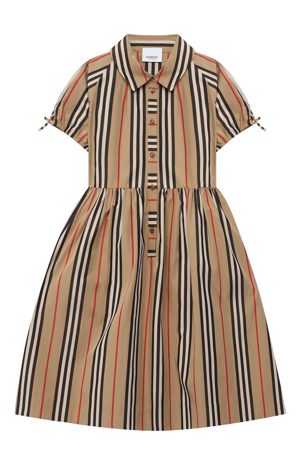 Детское хлопковое платье BURBERRY бежевого цвета, арт. 8031765 | Фото 1 (Рукава: Короткие; Случай: Повседневный; Материал внешний: Хлопок)