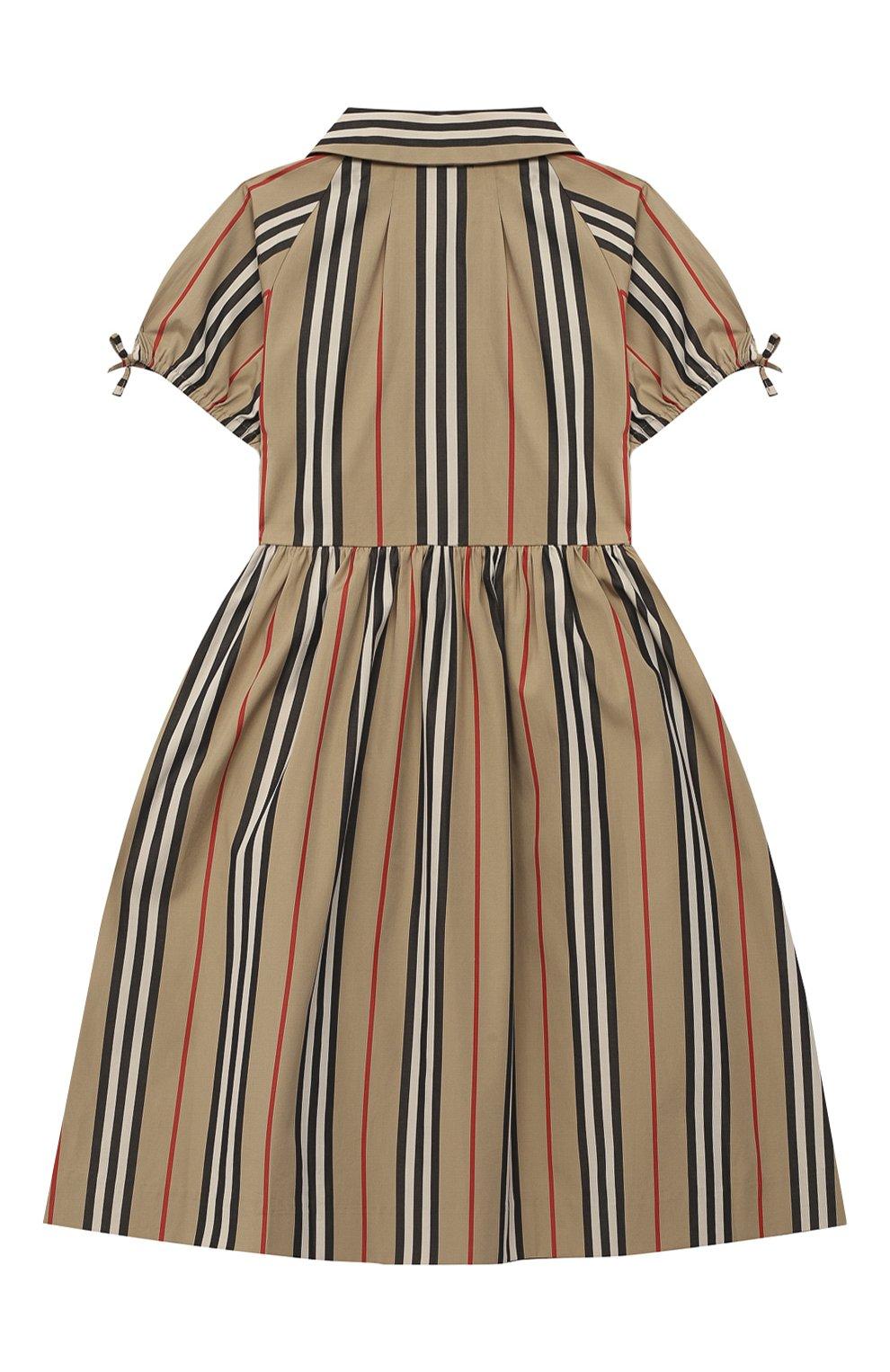 Детское хлопковое платье BURBERRY бежевого цвета, арт. 8031765 | Фото 2 (Рукава: Короткие; Случай: Повседневный; Материал внешний: Хлопок)