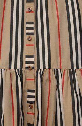 Детское хлопковое платье BURBERRY бежевого цвета, арт. 8031765 | Фото 3 (Рукава: Короткие; Случай: Повседневный; Материал внешний: Хлопок)
