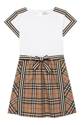 Детское хлопковое платье BURBERRY бежевого цвета, арт. 8033572   Фото 1