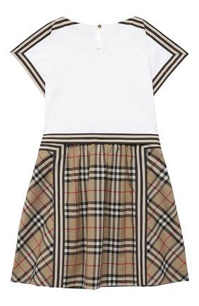 Детское хлопковое платье BURBERRY бежевого цвета, арт. 8033572   Фото 2