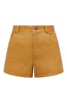 Женские кожаные шорты SAINT LAURENT коричневого цвета, арт. 561313/Y50A2 | Фото 1
