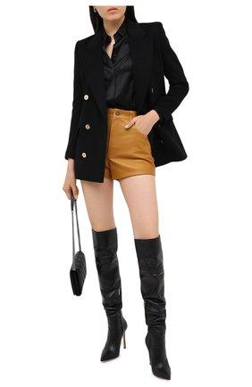 Женские кожаные шорты SAINT LAURENT коричневого цвета, арт. 561313/Y50A2 | Фото 2