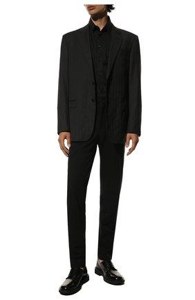 Мужской шерстяные брюки BALMAIN черного цвета, арт. UH15744/W050 | Фото 2