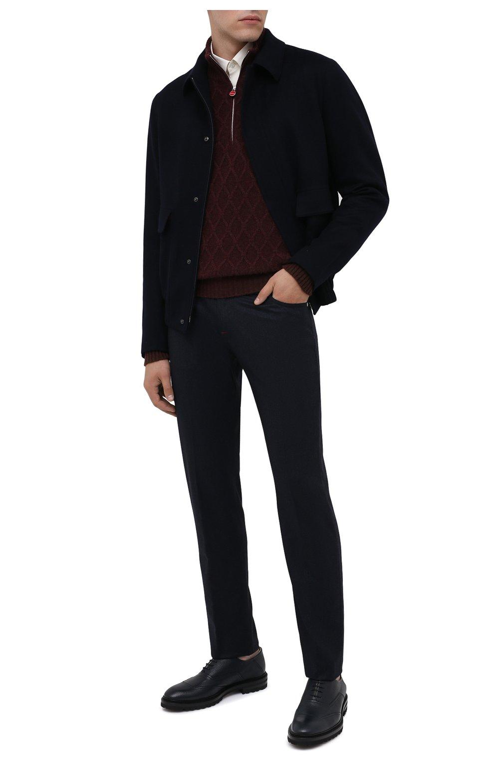 Мужские кожаные оксфорды KITON темно-синего цвета, арт. USSRENZN00126 | Фото 2