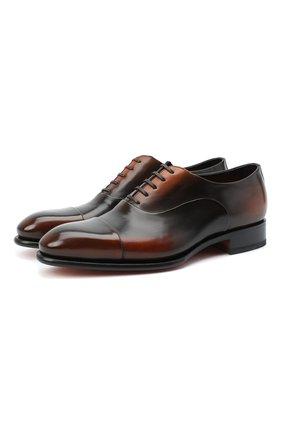 Мужские кожаные оксфорды SANTONI коричневого цвета, арт. MCCR12621MC1HNGWN51   Фото 1