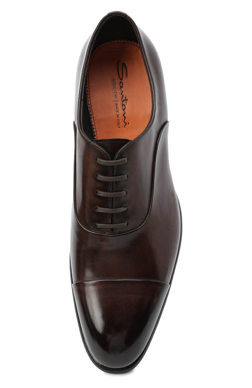 Мужские кожаные оксфорды SANTONI коричневого цвета, арт. MCCR12621MC1HVVDT50 | Фото 5