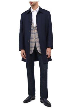 Мужские кожаные лоферы SANTONI темно-синего цвета, арт. MCLE16451SI1ESCSU53 | Фото 2