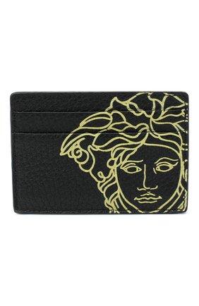 Мужской кожаный футляр для кредитных карт VERSACE черного цвета, арт. DPN2467/DVTG4M | Фото 1