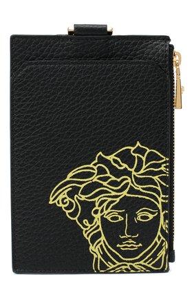 Мужской кожаный футляр для кредитных карт VERSACE черного цвета, арт. DPN8112/DVTG4M | Фото 1