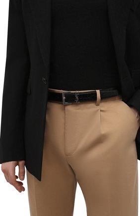 Мужской кожаный ремень SAINT LAURENT черного цвета, арт. 634440/DZE0E | Фото 2