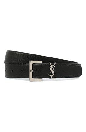 Мужской кожаный ремень SAINT LAURENT черного цвета, арт. 634440/BRM0E | Фото 1