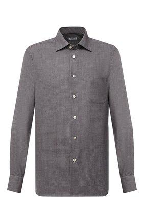 Мужская шерстяная рубашка KITON коричневого цвета, арт. UMCNERK01X4903 | Фото 1 (Материал внешний: Шерсть; Рукава: Длинные; Длина (для топов): Стандартные; Случай: Повседневный; Стили: Кэжуэл)