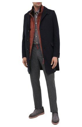Мужская шерстяная рубашка KITON коричневого цвета, арт. UMCNERK01X4903 | Фото 2 (Материал внешний: Шерсть; Рукава: Длинные; Длина (для топов): Стандартные; Случай: Повседневный; Стили: Кэжуэл)