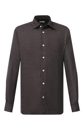 Мужская шерстяная рубашка KITON темно-коричневого цвета, арт. UMCNERK01T3803 | Фото 1