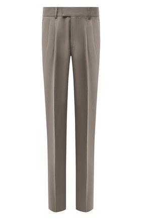 Мужские шерстяные брюки GIORGIO ARMANI бежевого цвета, арт. 0SGPP0BF/T004K | Фото 1 (Материал подклада: Синтетический материал; Длина (брюки, джинсы): Стандартные; Материал внешний: Шерсть; Стили: Кэжуэл; Случай: Повседневный)