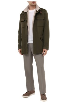 Мужские шерстяные брюки GIORGIO ARMANI бежевого цвета, арт. 0SGPP0BF/T004K   Фото 2