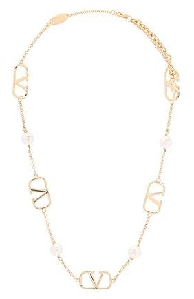 Женское колье valentino garavani vlogo pearls VALENTINO золотого цвета, арт. UW2J0G20/UXM | Фото 1