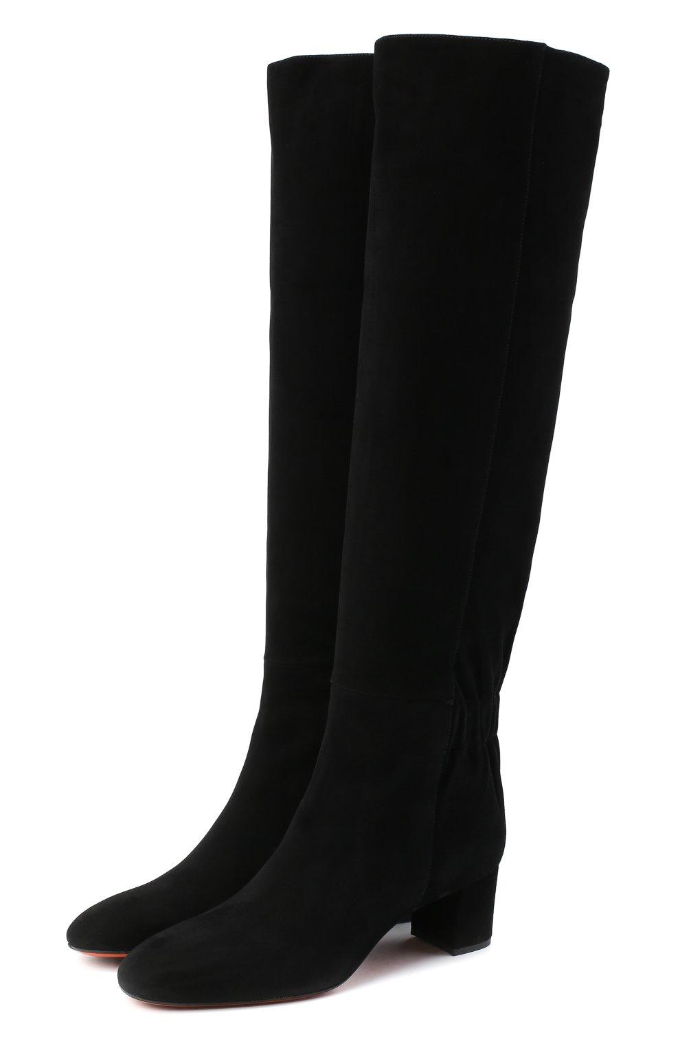 Женские замшевые сапоги SANTONI черного цвета, арт. WSNC58798HI2NMGDN01   Фото 1