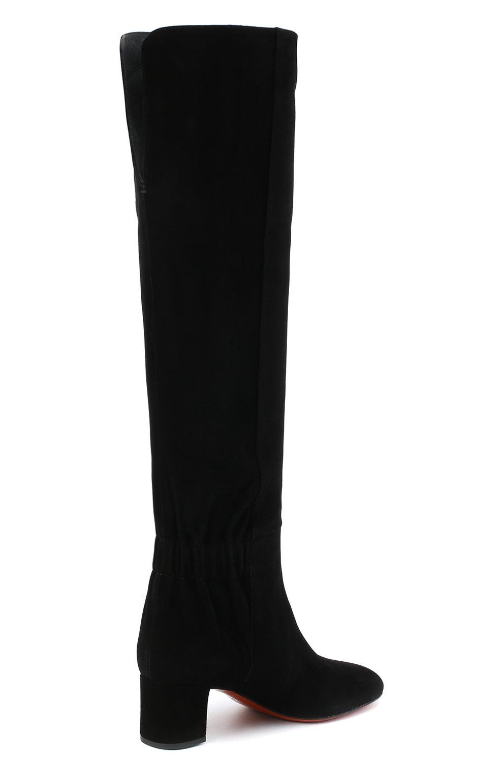 Женские замшевые сапоги SANTONI черного цвета, арт. WSNC58798HI2NMGDN01   Фото 4