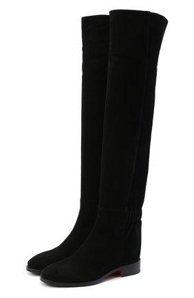 Женские замшевые ботфорты SANTONI черного цвета, арт. WSNH58822BJ2NMGDN01   Фото 1