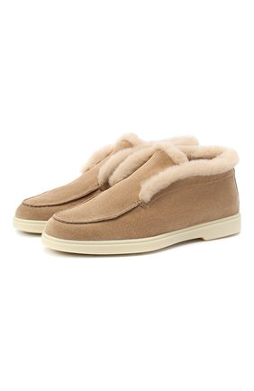 Женские замшевые ботинки yalta SANTONI светло-коричневого цвета, арт. WUYA58457TISAPFRC23 | Фото 1