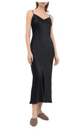 Женская шелковая сорочка MARJOLAINE черного цвета, арт. ODANA | Фото 2
