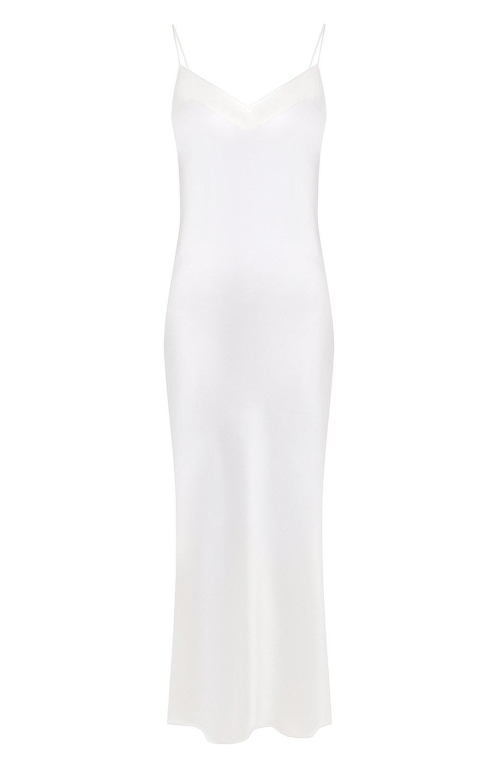 Женская шелковая сорочка MARJOLAINE белого цвета, арт. ODANA   Фото 1 (Материал внешний: Шелк; Длина Ж (юбки, платья, шорты): Макси)