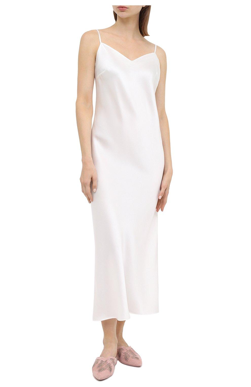 Женская шелковая сорочка MARJOLAINE белого цвета, арт. ODANA   Фото 2 (Материал внешний: Шелк; Длина Ж (юбки, платья, шорты): Макси)