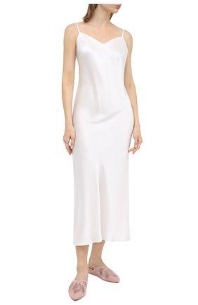 Женская шелковая сорочка MARJOLAINE белого цвета, арт. ODANA   Фото 3 (Материал внешний: Шелк; Длина Ж (юбки, платья, шорты): Макси)