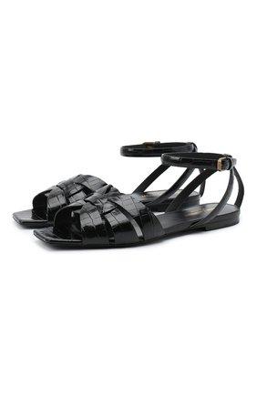 Женские кожаные сандалии tribute SAINT LAURENT черного цвета, арт. 620090/1YQ00 | Фото 1
