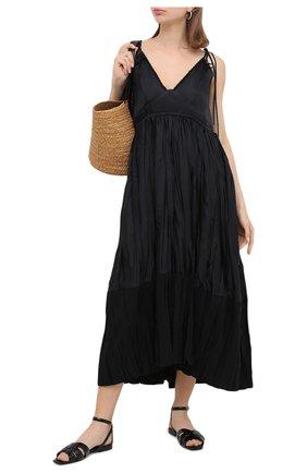 Женские кожаные сандалии tribute SAINT LAURENT черного цвета, арт. 620090/1YQ00 | Фото 2
