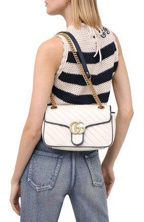 Женская сумка gg marmont GUCCI белого цвета, арт. 443497/00LFX | Фото 2