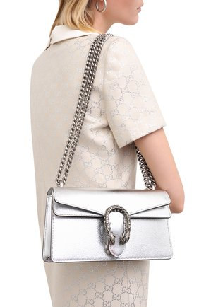 Женская сумка dionysus small GUCCI серебряного цвета, арт. 499623/1TRBN | Фото 2