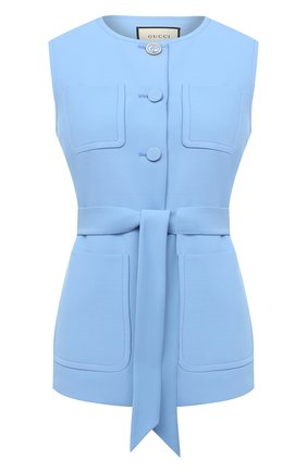 Женский жилет из шелка и шерсти GUCCI голубого цвета, арт. 619334/ZAD88 | Фото 1