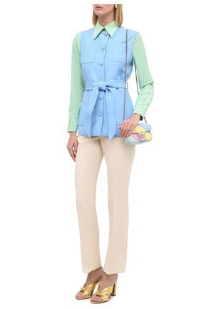 Женский жилет из шелка и шерсти GUCCI голубого цвета, арт. 619334/ZAD88 | Фото 2