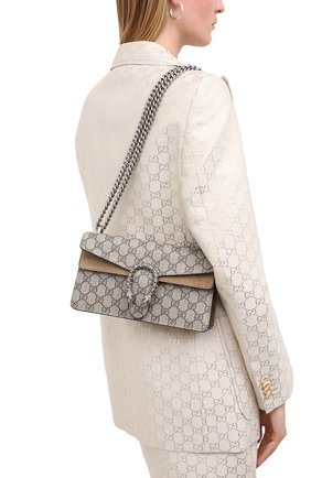 Женская сумка dionysus small GUCCI бежевого цвета, арт. 499623/92TJN   Фото 2 (Материал: Экокожа, Текстиль; Размер: small; Сумки-технические: Сумки через плечо)