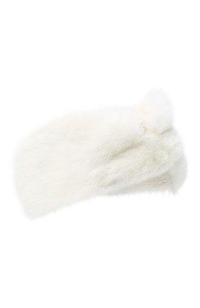 Женская меховая повязка на голову YVES SALOMON белого цвета, арт. 21WAA821XXVCXX   Фото 1