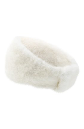 Женская меховая повязка на голову YVES SALOMON белого цвета, арт. 21WAA821XXVCXX   Фото 2