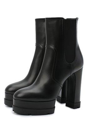 Женские кожаные ботильоны CASADEI черного цвета, арт. 1R132N1201L0VEC9000   Фото 1