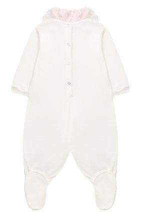 Детский хлопковый комбинезон MONNALISA белого цвета, арт. 356203S2 | Фото 2
