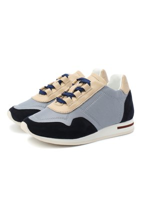 Детские замшевые кроссовки LORO PIANA голубого цвета, арт. FAG2102 | Фото 1