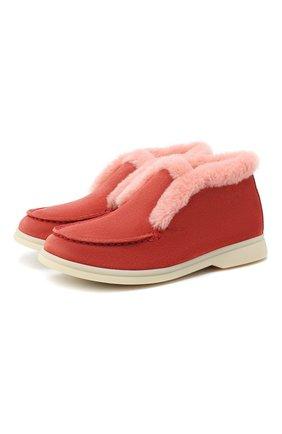 Детские замшевые ботинки с мехом LORO PIANA розового цвета, арт. FAI3097 | Фото 1