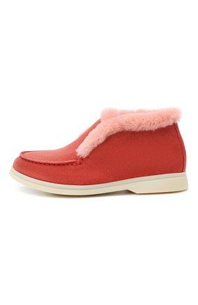 Детские замшевые ботинки с мехом LORO PIANA розового цвета, арт. FAI3097 | Фото 2