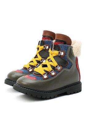 Детские кожаные ботинки с мехом DSQUARED2 хаки цвета, арт. 65053/S0FTY/18-27 | Фото 1