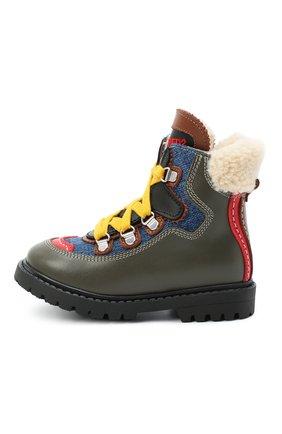 Детские кожаные ботинки с мехом DSQUARED2 хаки цвета, арт. 65053/S0FTY/18-27 | Фото 2