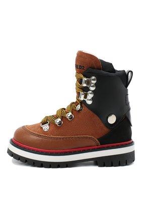 Детские кожаные ботинки DSQUARED2 коричневого цвета, арт. 65198/RUNNER/18-27 | Фото 2